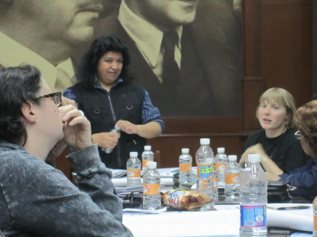 Laura talking with the group